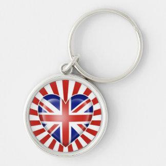 British Heart Flag with Star Burst Key Chains