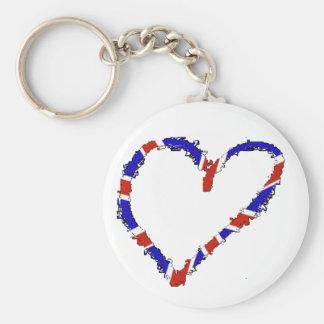British heart keyring basic round button key ring