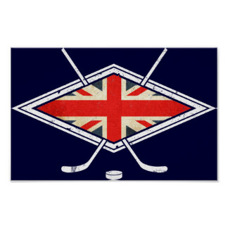 British Ice Hockey Flag Poster