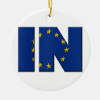 British In/Out EU referendum. IN with European Uni Round Ceramic Decoration