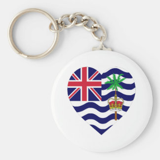 British Indian Ocean Territory Flag Heart Basic Round Button Key Ring