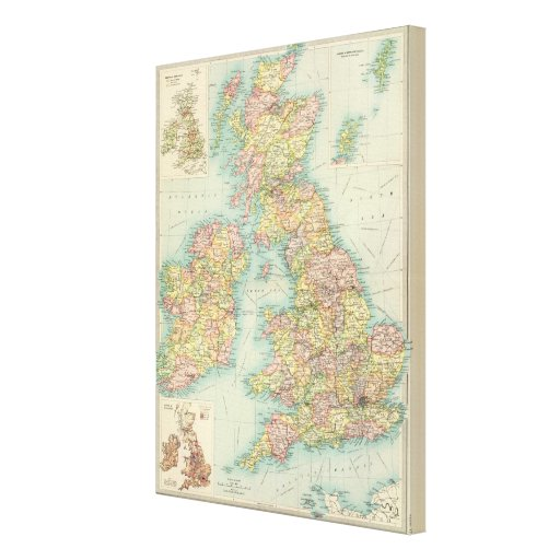 British Isles political map Stretched Canvas Prints