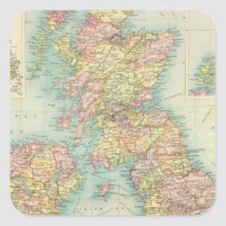 British Isles political map Square Stickers