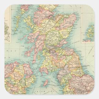 British Isles political map Square Stickers