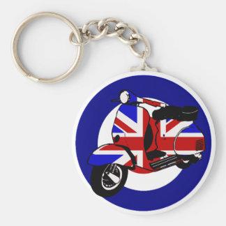 British mod scooter on target basic round button key ring