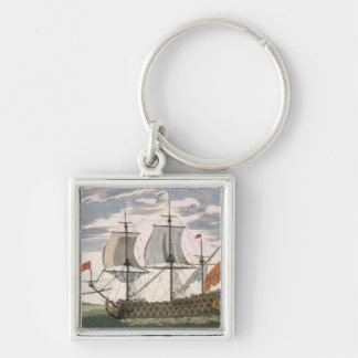British Navy: a first-rate ship flying the White E Key Chain