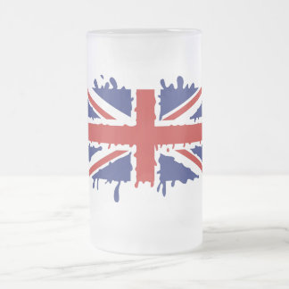 British paint splash flag frosted glass beer mug