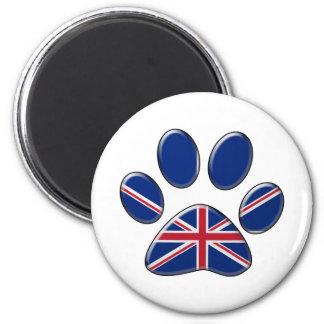 British patriotic cat 6 cm round magnet