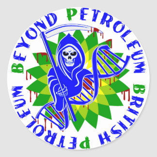 british petroleum blue plague round sticker