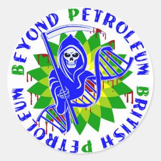 british petroleum blue plague round sticker