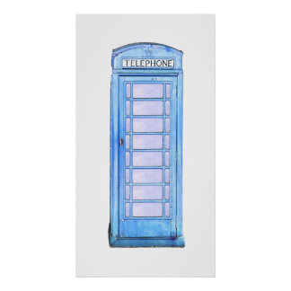 British phone booth - blue print