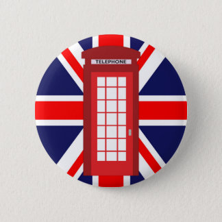 British phone box Union Jack flag 6 Cm Round Badge