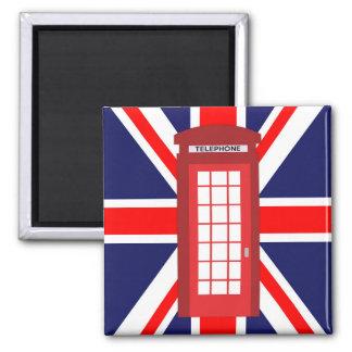 British phone box Union Jack flag Square Magnet