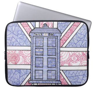 British Police Box and Union Jack Flag Illustrated Laptop Sleeve