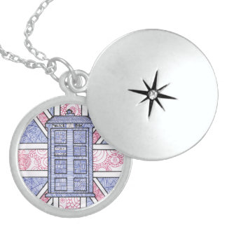 British Police Box and Union Jack Flag Illustrated Locket Necklace
