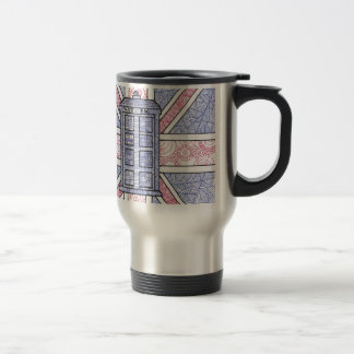 British Police Box and Union Jack Flag Illustrated Stainless Steel Travel Mug
