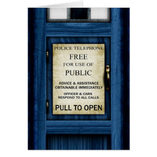 British Police Call Box Sign Greetings Card 2