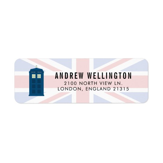 British Police Call Box UK Flag   Return Address Return Address Label