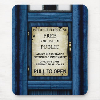 British Police Public Call Box Sign Mousepad