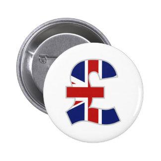 British Pound 6 Cm Round Badge