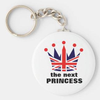 British Princess Crown Basic Round Button Key Ring
