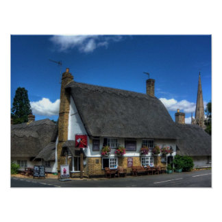 British Pub Print with Thatched Roof