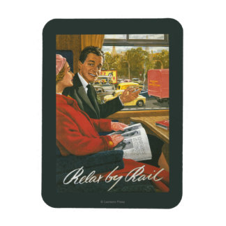 British Railways Relax by Rail Poster Rectangular Photo Magnet