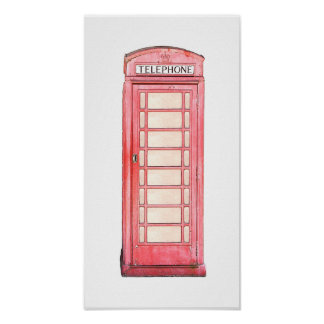 British red phone booth poster