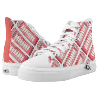 British red phone booth printed shoes