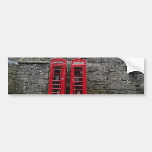 British Red Phone Boxes at Edinburgh Castle Bumper Stickers