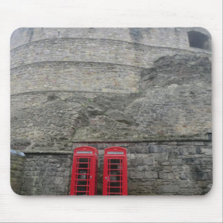 British Red Phone Boxes at Edinburgh Castle Mouse Pad