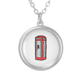 British Red Telephone Box Cartoon Illustration Silver Plated Necklace