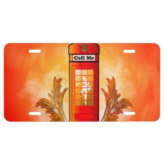 British red telephone box license plate