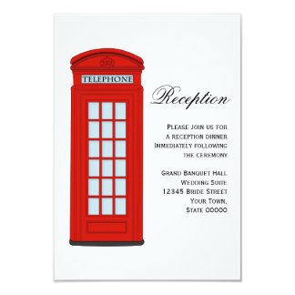 British Red Telephone Box Wedding Reception Card
