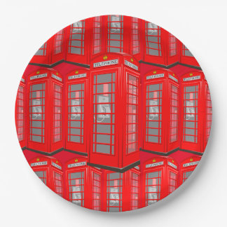 British Red Theme London Phone Booth Paper Plates 9 Inch Paper Plate