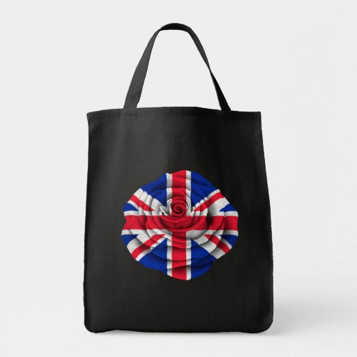 British Rose Flag on Black Tote Bags