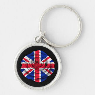 British Rose Flag on Black Key Chain