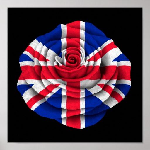 British Rose Flag on Black Posters