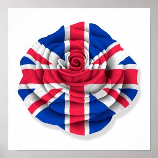 British Rose Flag on White Poster