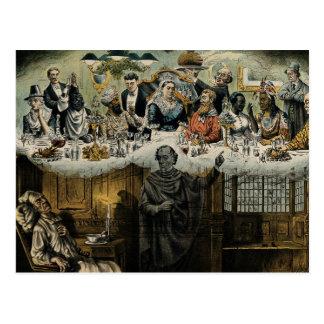 British Scrooge Queen Victoria Christmas Dinner Postcard