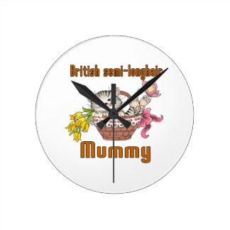 British semi-longhair Cat Mom Round Clock