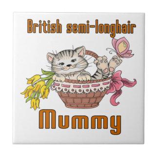 British semi-longhair Cat Mom Tile