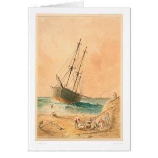 """British ship """"Viscata"""" Beached (0533A) Greeting Card"""
