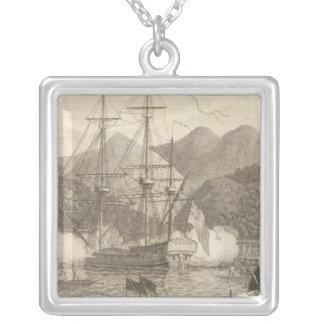 British Ships Firing at Tahiti Silver Plated Necklace