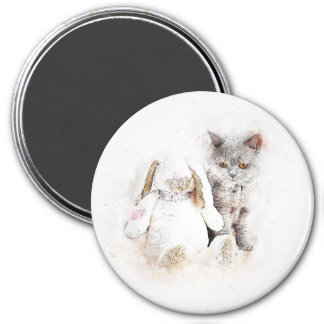 British Shorthair & Bunny   Abstract   Watercolor Magnet