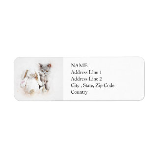 British Shorthair & Bunny | Abstract | Watercolor Return Address Label