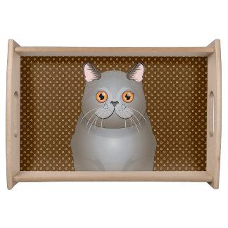 British Shorthair Cat Cartoon Paws Service Trays