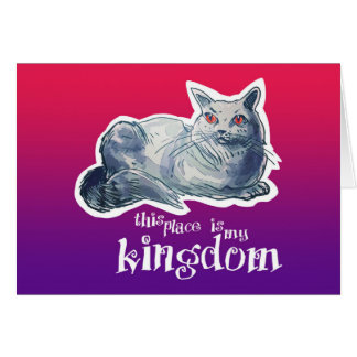 british shorthair cat cartoon style illustration card