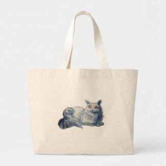 british shorthair cat cartoon style illustration large tote bag