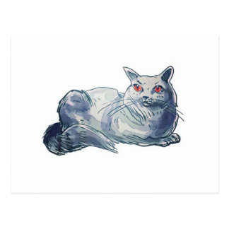 british shorthair cat cartoon style illustration postcard